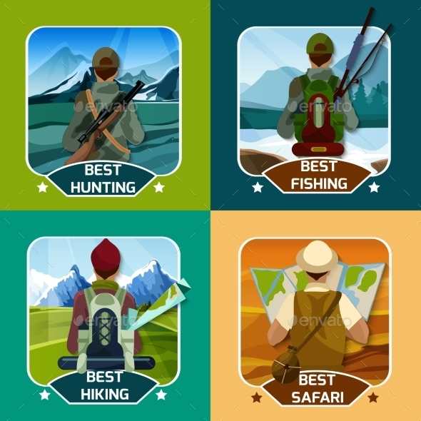 Hunting Hiking 4 Flat Icons - Landscapes Nature