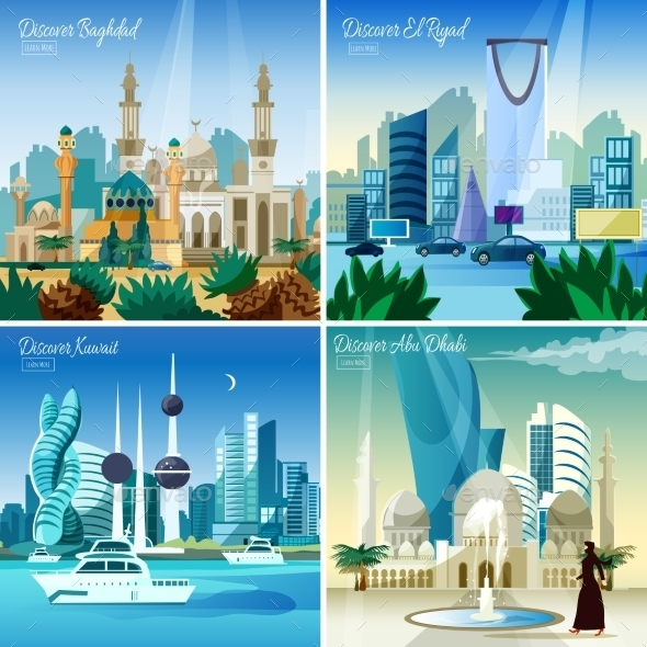 Arabic Cityscape 4 Flat Icons - Buildings Objects