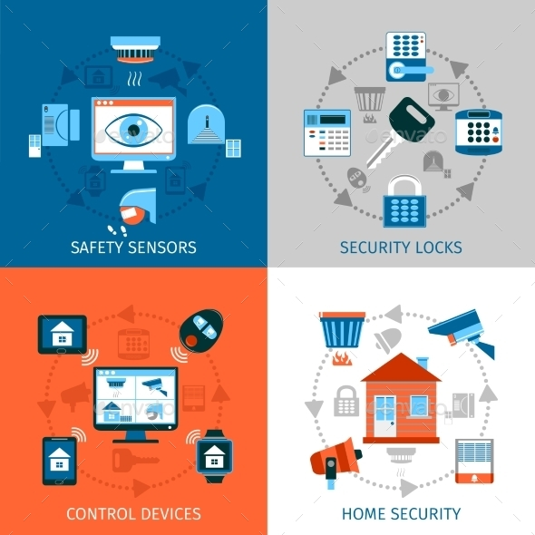 Home Safety Concept Icons Set  - Computers Technology