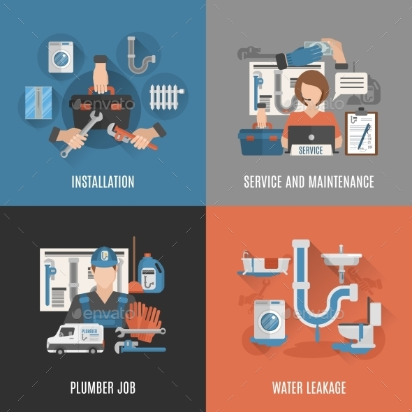 Plumbing Service 4 Flat Icons - Services Commercial / Shopping