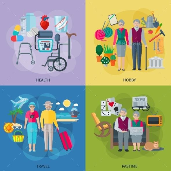 Pensioners Life Concept Icons Set  - Health/Medicine Conceptual