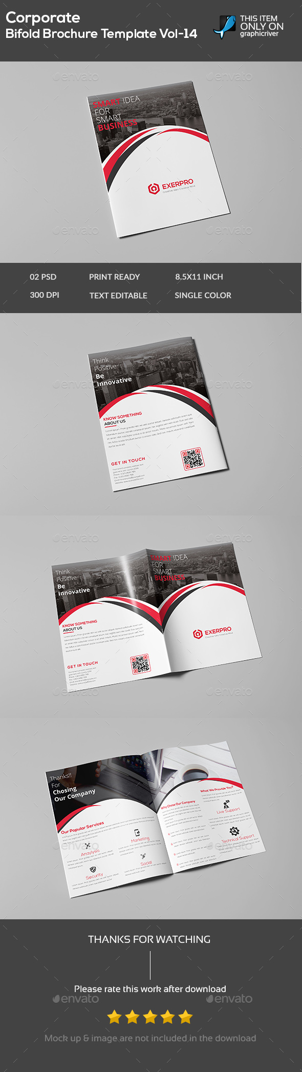 Corporate Bifold Brochure Template vol-14 - Brochures Print Templates