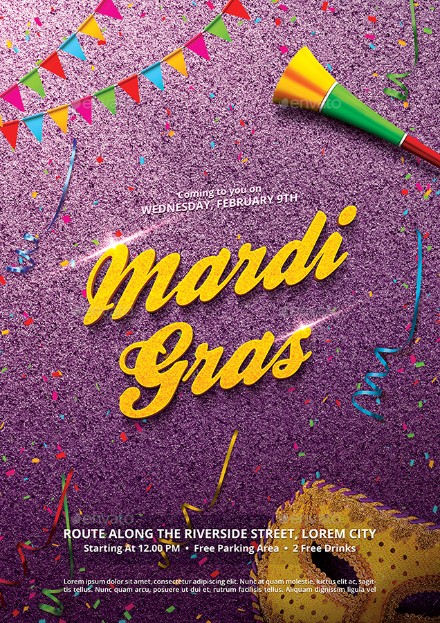 mardi gras carnival flyer templatebornx | graphicriver, Powerpoint templates
