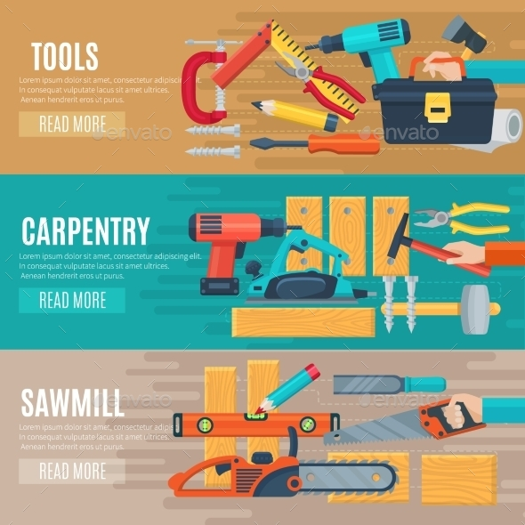 Horizontal Carpentry Banners with Tools Kit - Backgrounds Decorative