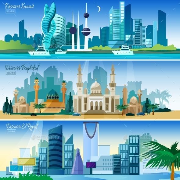 Arabic Cityscape Horizontal Banners Set - Travel Conceptual