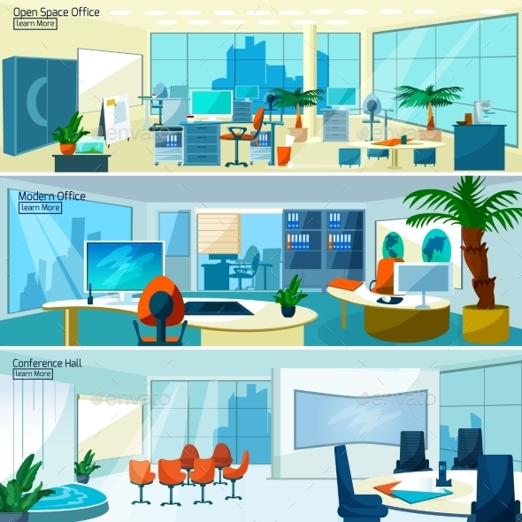 Modern Office Interiors Banners - Backgrounds Business
