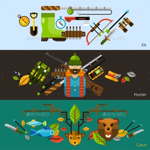 Hunting and Fishing Banners - Animals Characters