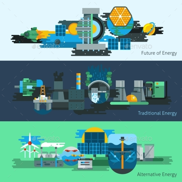 Energy Production Banner Set - Abstract Conceptual