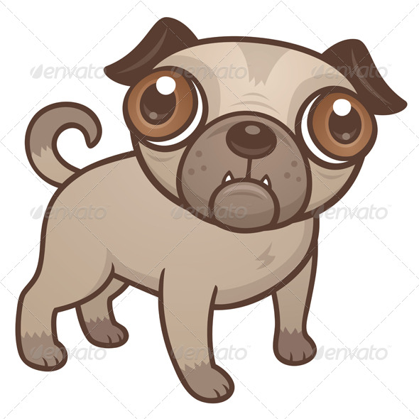 Pug Puppy Cartoon - Animals Characters