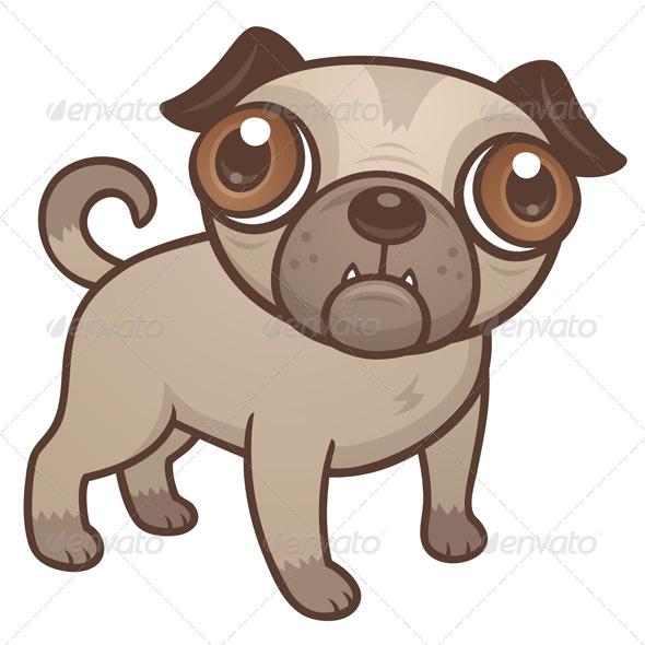 Pug Puppy Cartoon - Animals Characters