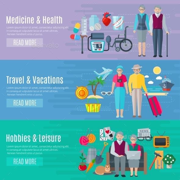 Pensioners Life Banners Set  - Health/Medicine Conceptual