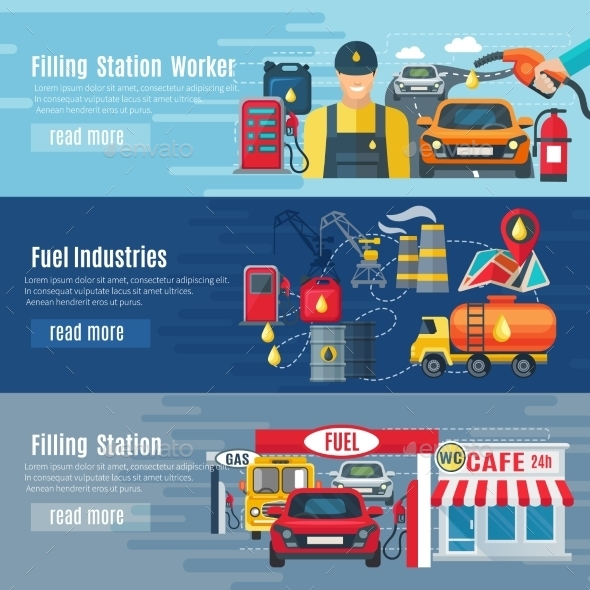 Gas Station Banners Set - Industries Business