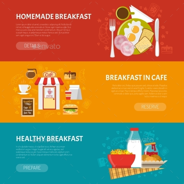 Breakfast Banners Set - Food Objects