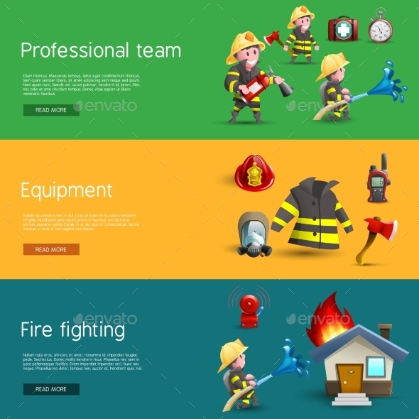 Firefighters Team Equipment Horizontal Banners - Miscellaneous Conceptual