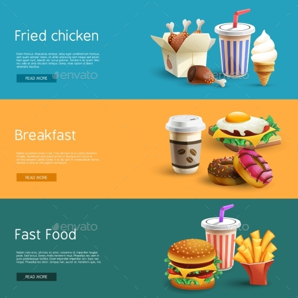 Fastfood Options Pictograms 3 Horizontal  Banners - Food Objects