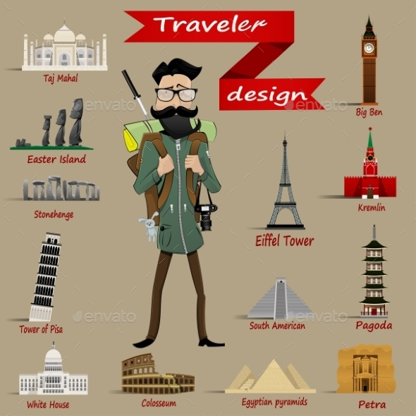Guy with Backpack and Travel Icons - Travel Conceptual
