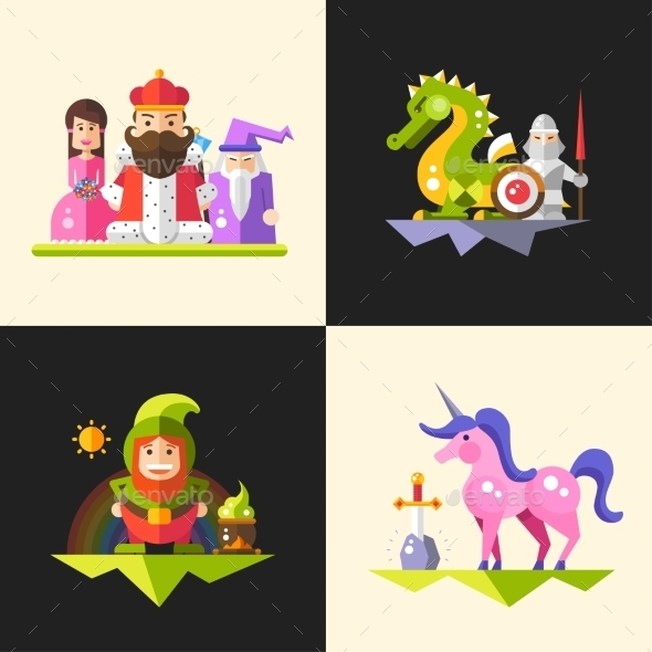 Fairy Tales Flat Design Magic Cartoon Characters - Miscellaneous Characters