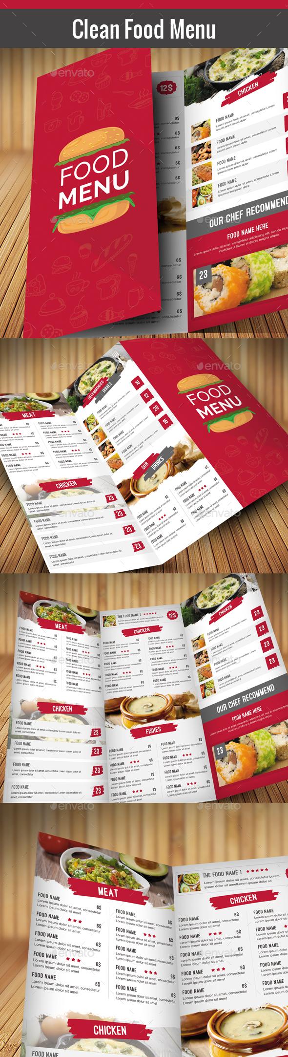 Clean Food Menu - Food Menus Print Templates