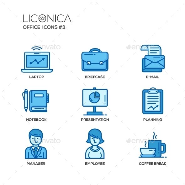 Modern Office And Business Line Flat Design Icons - Business Conceptual