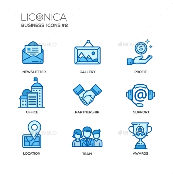 Set Of Modern Office Line Flat Design Icons - Business Conceptual