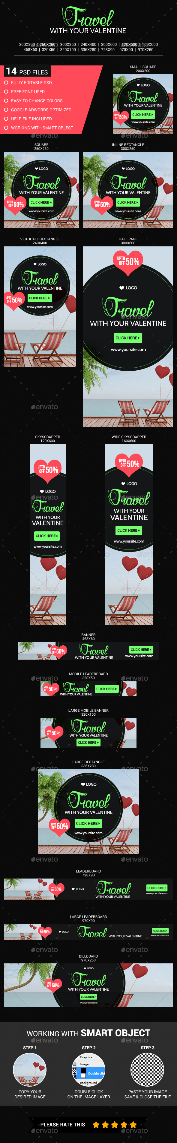 Travel with your valentine - Banners & Ads Web Elements
