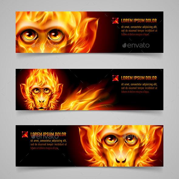 Monkey Fire Banners - Miscellaneous Vectors