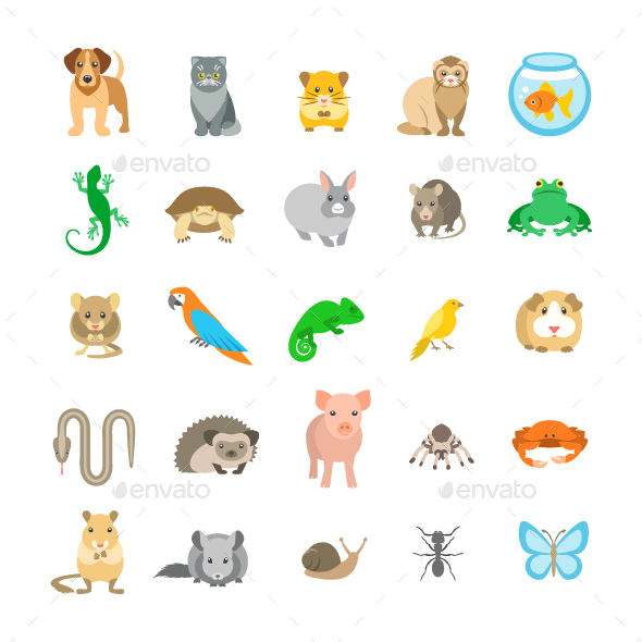 Animals Pets Vector Flat Colorful Icons Set - Animals Characters