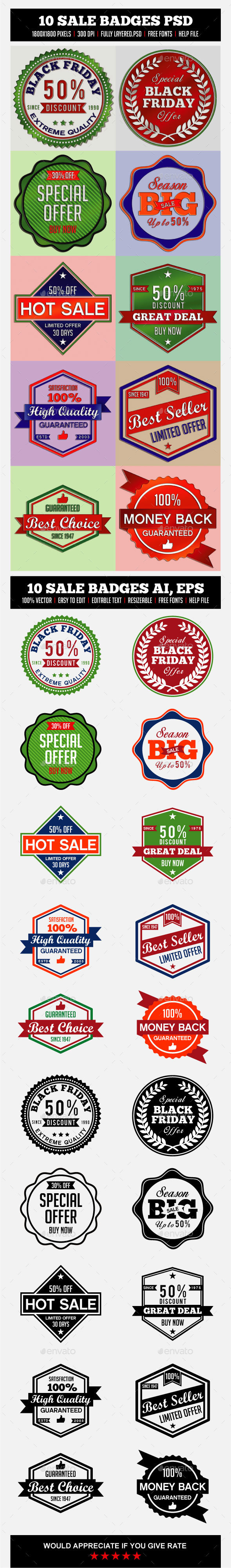 10 SALE BADGES - Badges & Stickers Web Elements