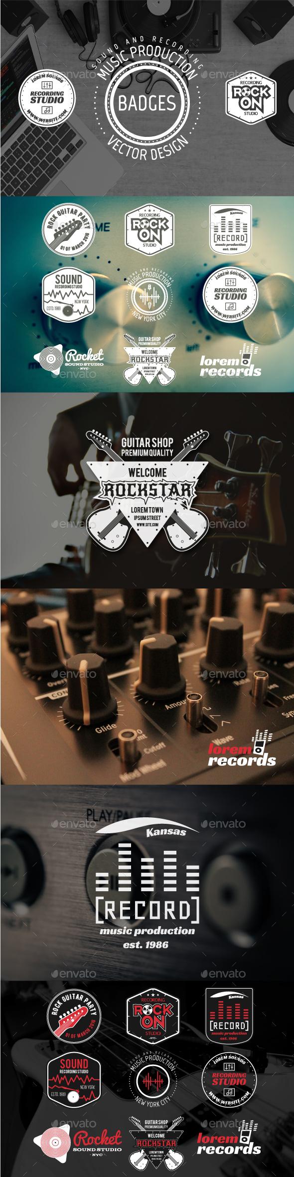 Music Recording & Sound Badges - Badges & Stickers Web Elements