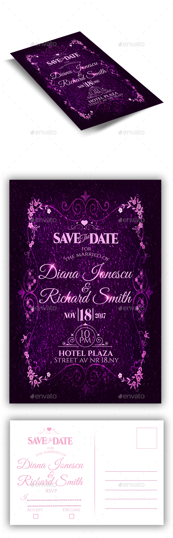 Wedding Invitation Flyer + RSVP - Weddings Cards & Invites