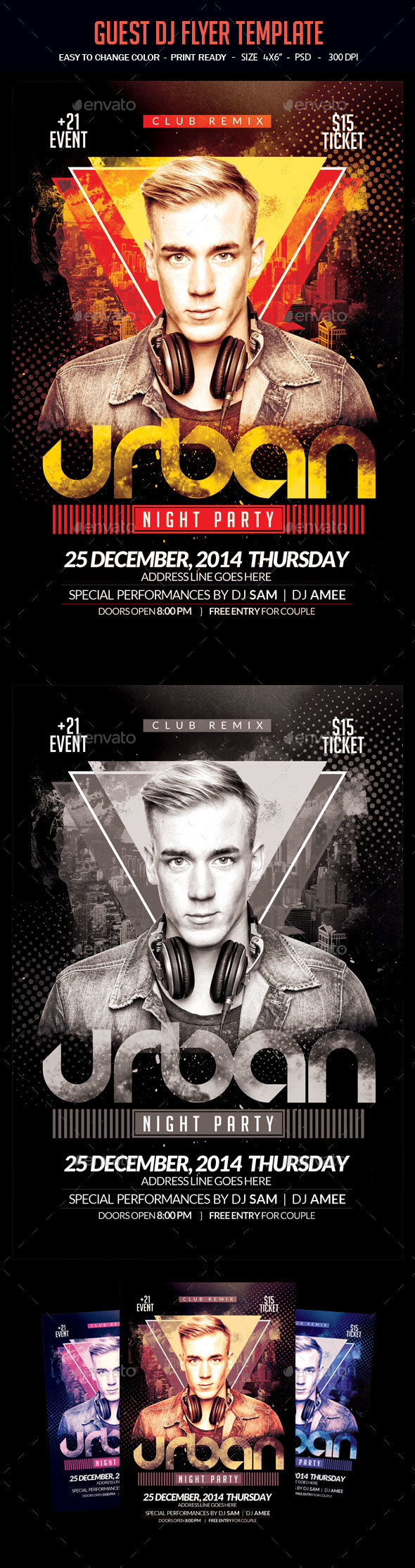 Urban Night Party Flyer Template - Clubs & Parties Events