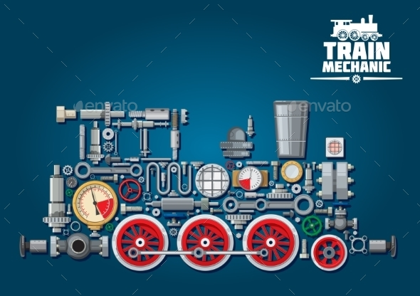 Steam Locomotive or Train from Mechanical Parts - Man-made Objects Objects