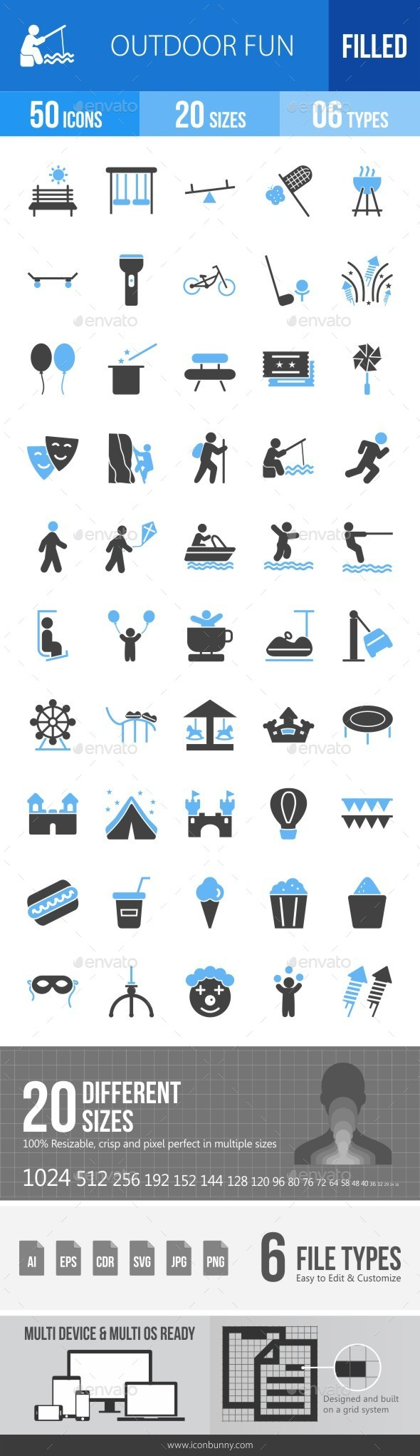 Outdoor Fun Blue & Black Icons - Icons