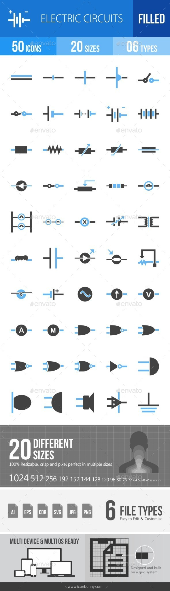 Electric Circuits Blue & Black Icons - Icons