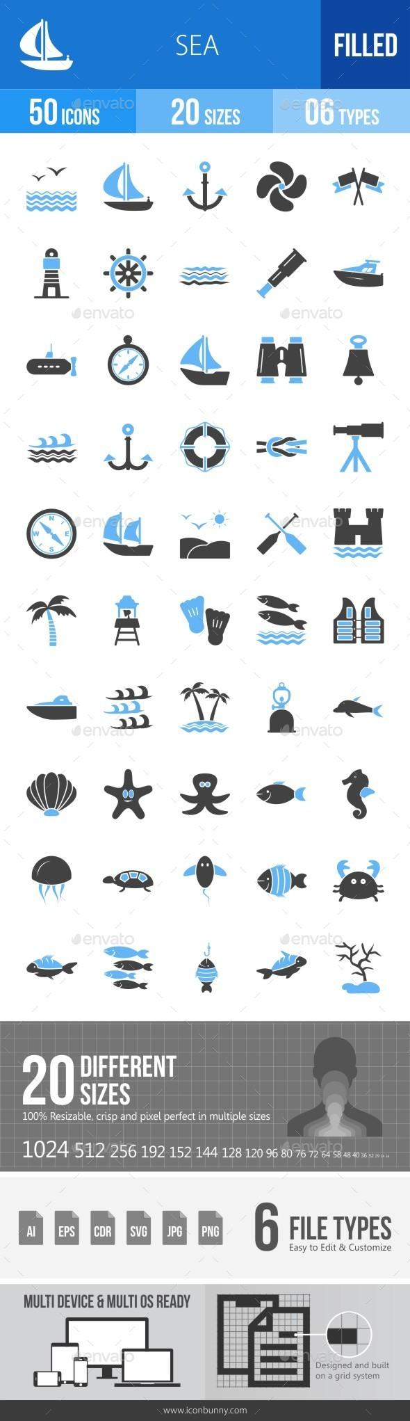 Sea Blue & Black Icons - Icons