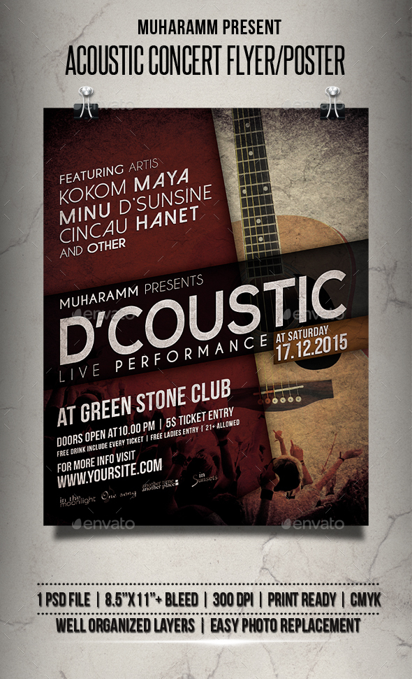 Acoutic Concert Fyler / Poster - Events Flyers
