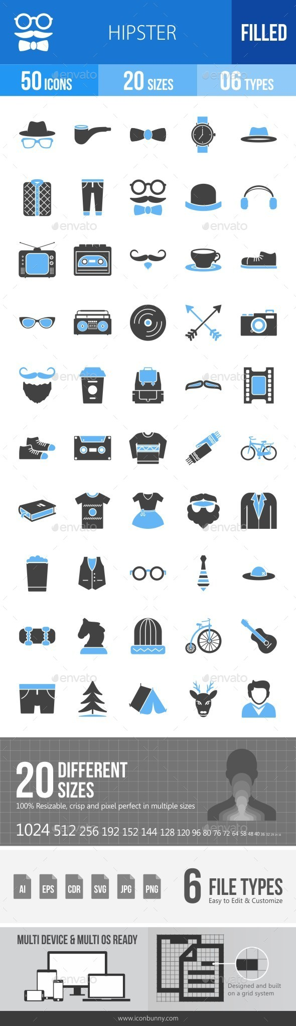 Hipster Blue & Black Icons - Icons