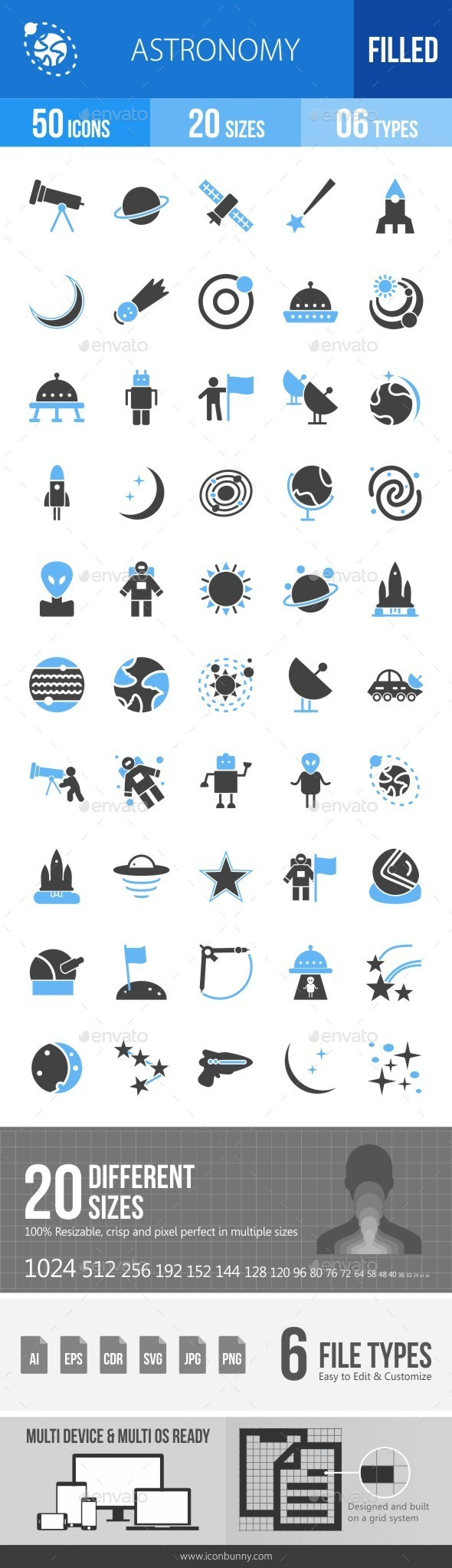 Astronomy Blue & Black Icons - Icons