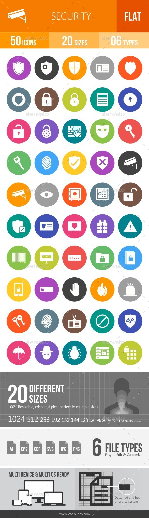 Security Flat Round Icons - Icons
