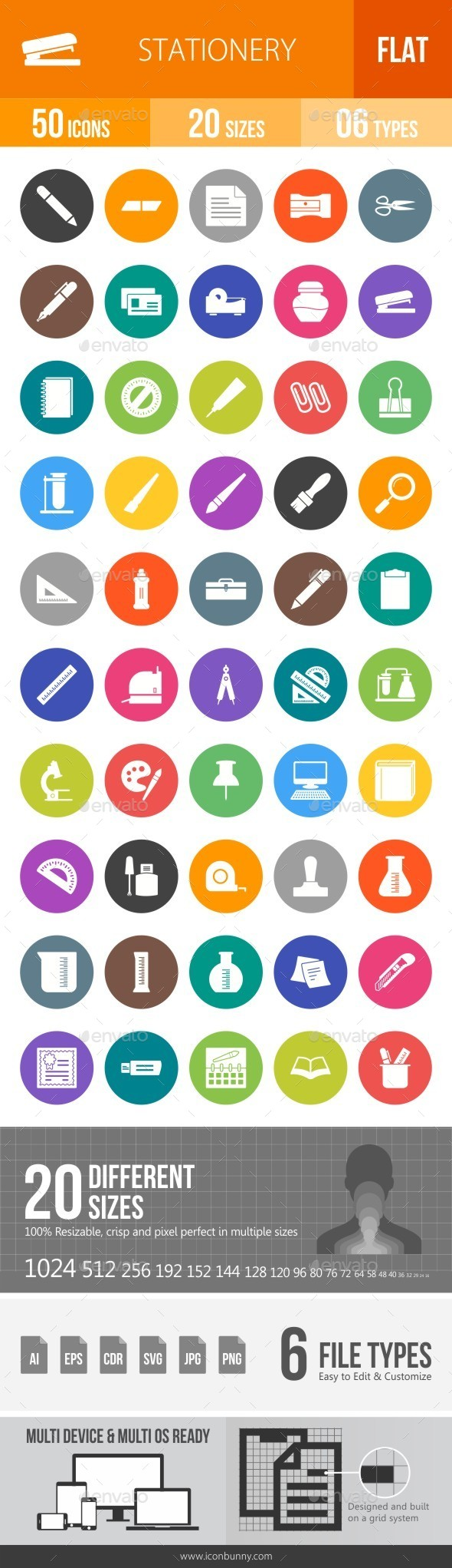Stationery Flat Round Icons - Icons