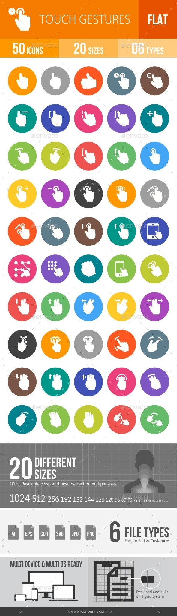 Touch Gestures Flat Round Icons - Icons