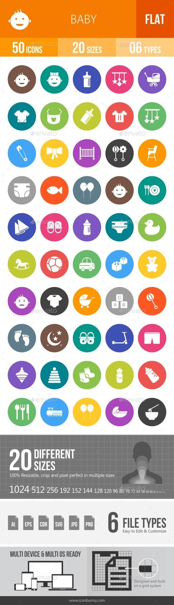 Baby Flat Round Icons - Icons