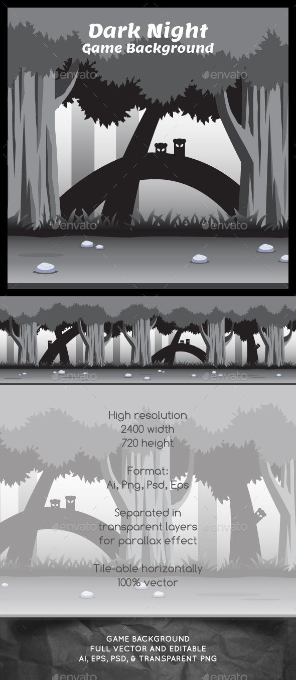 Dark Night Game Background - Backgrounds Game Assets