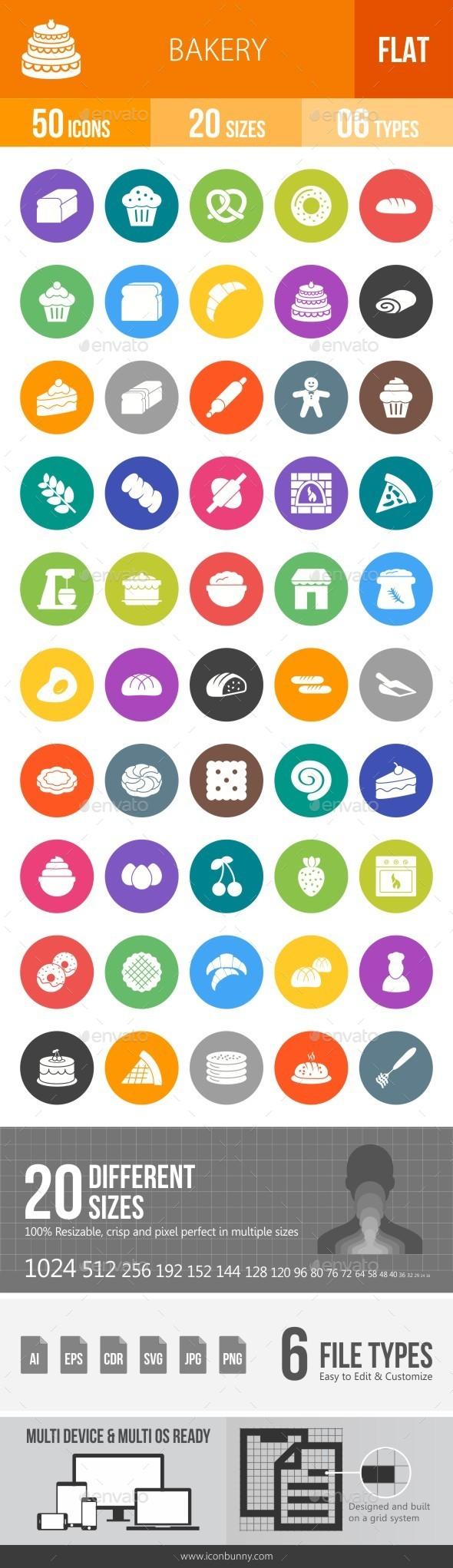 Bakery Flat Round Icons - Icons