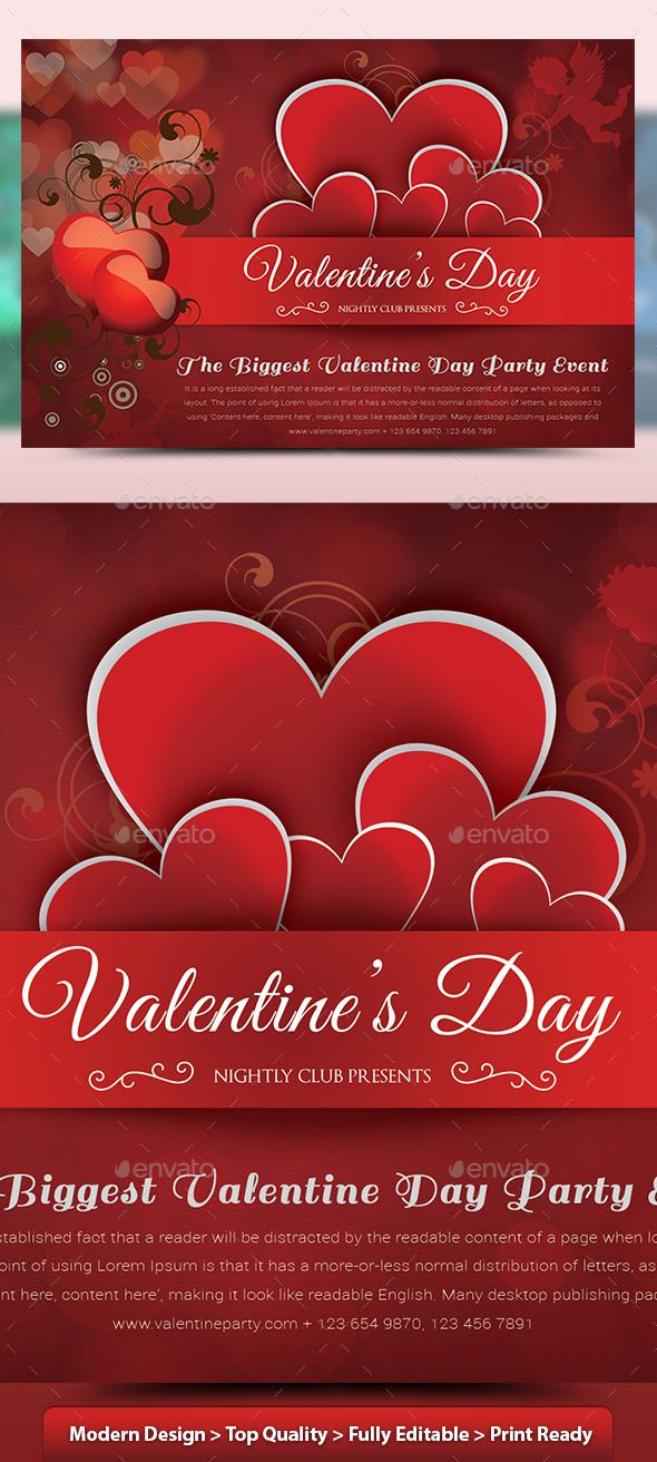 Valentine Day Party Flyer v2 - Clubs & Parties Events