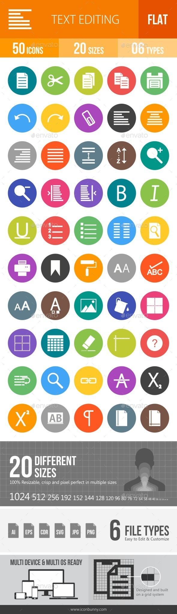 Text Editing Flat Round Icons - Icons