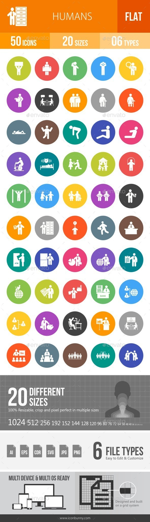 Humans Flat Round Icons - Icons