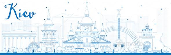 Outline Kiev Skyline with Blue Landmarks - Buildings Objects