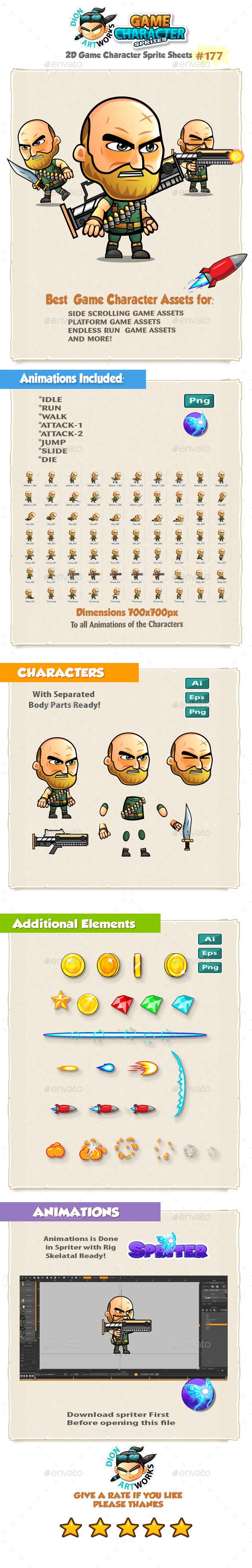 The Big Guy Warrior 2D Game Character Sprites 176 - Sprites Game Assets