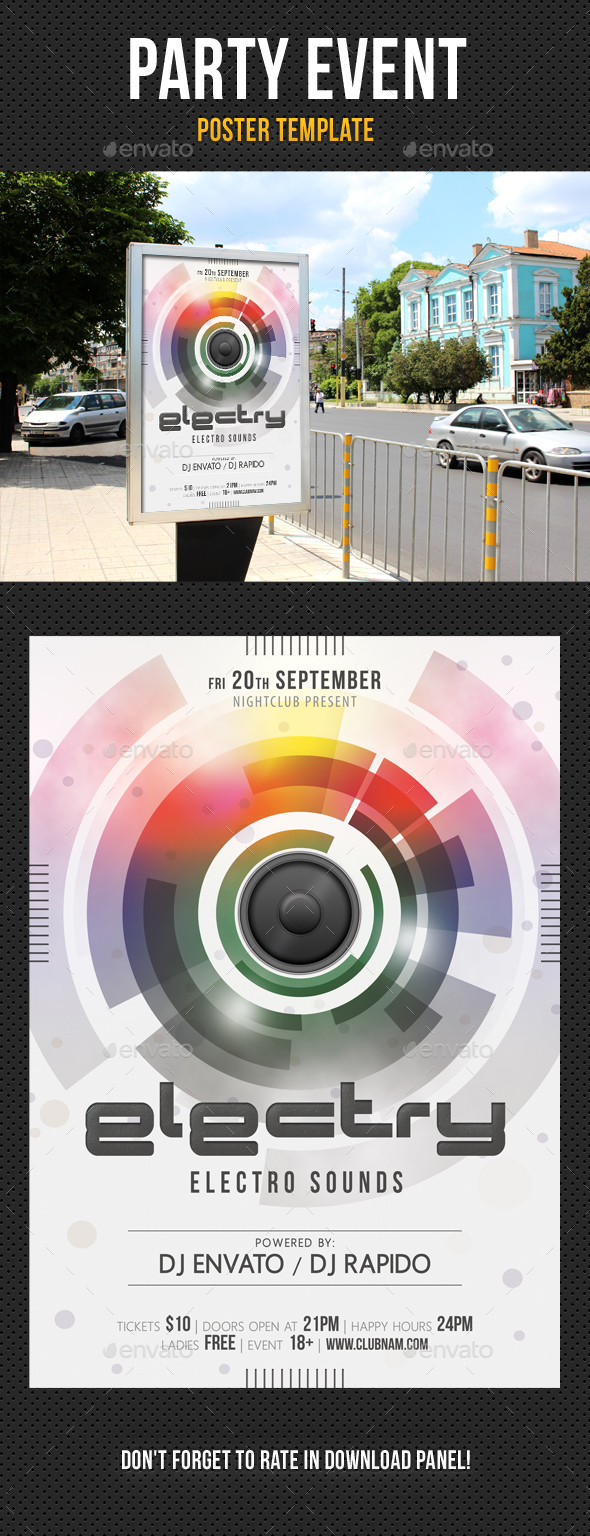 Party Event Music Poster 01 - Signage Print Templates